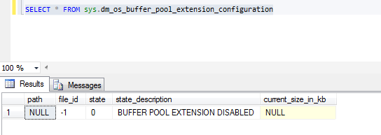 Resim 1 - Select sys.dm_os_buffer_pool_extension_configuration