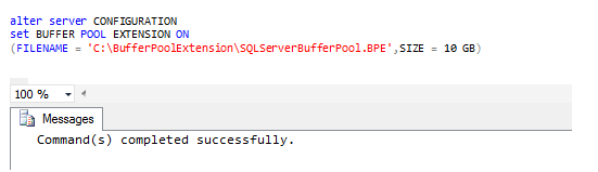 Resim 3 - Alter Server Configuration Set Buffer Pool Extension